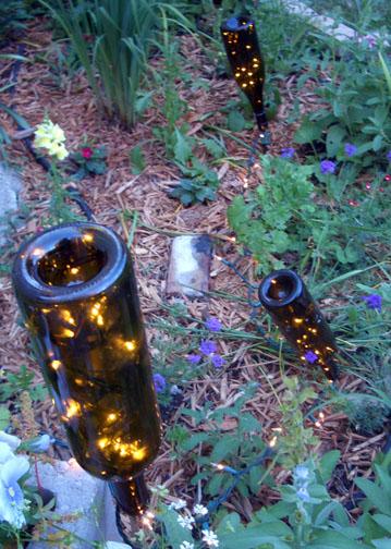 Easy garden lights more organics for Wine bottle patio lights