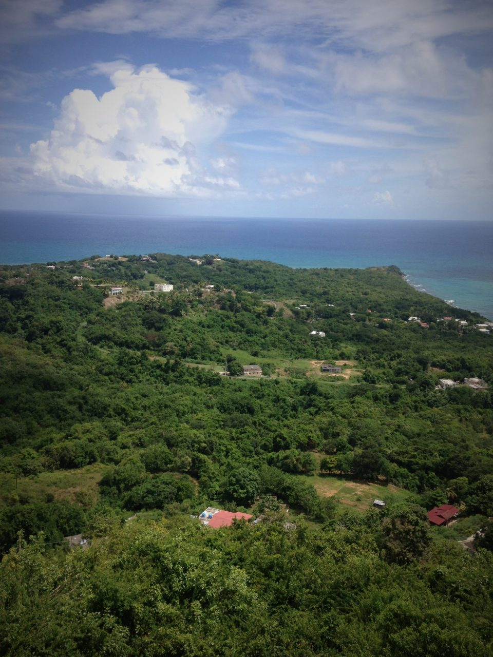 View from the Southeastern part of Puerto Rico out to the Caribbean ocean.